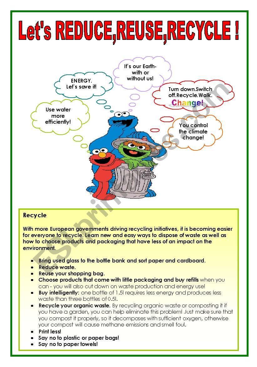 Let´s reduce,reuse,recycle! worksheet