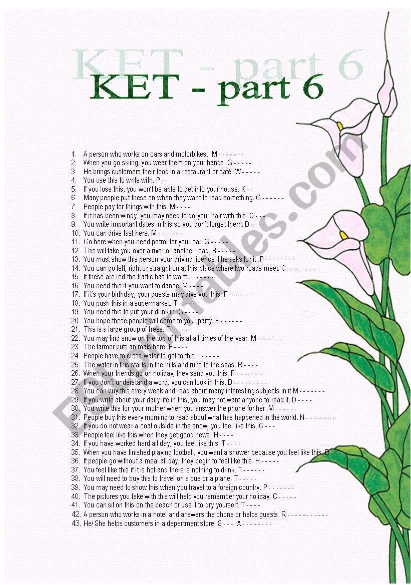 Vocabulary for KET exam worksheet