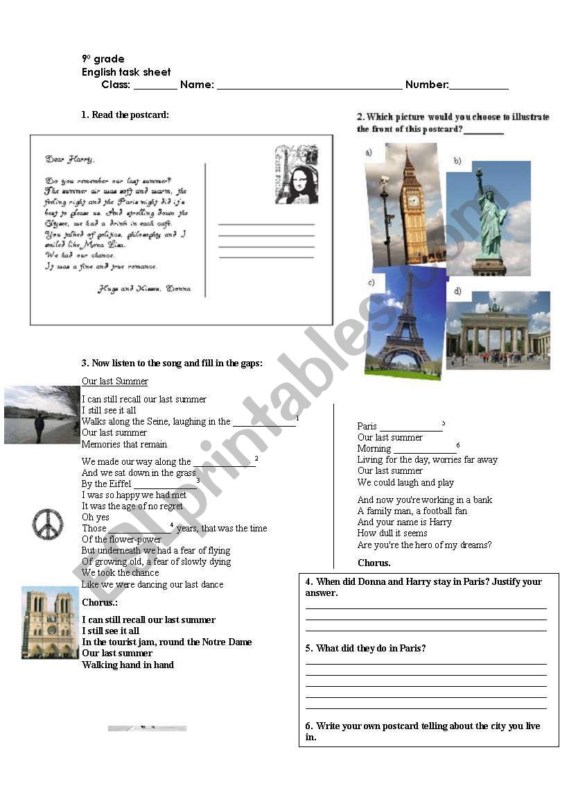 Our last summer - ABBA worksheet