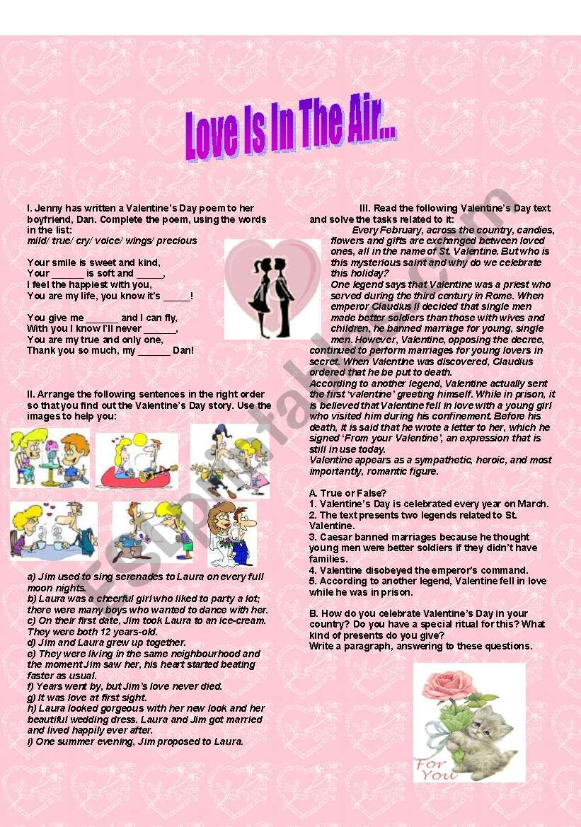Love Is In The Air... worksheet