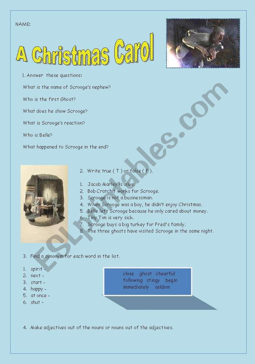 English worksheets: Reading test A Christmas Carol