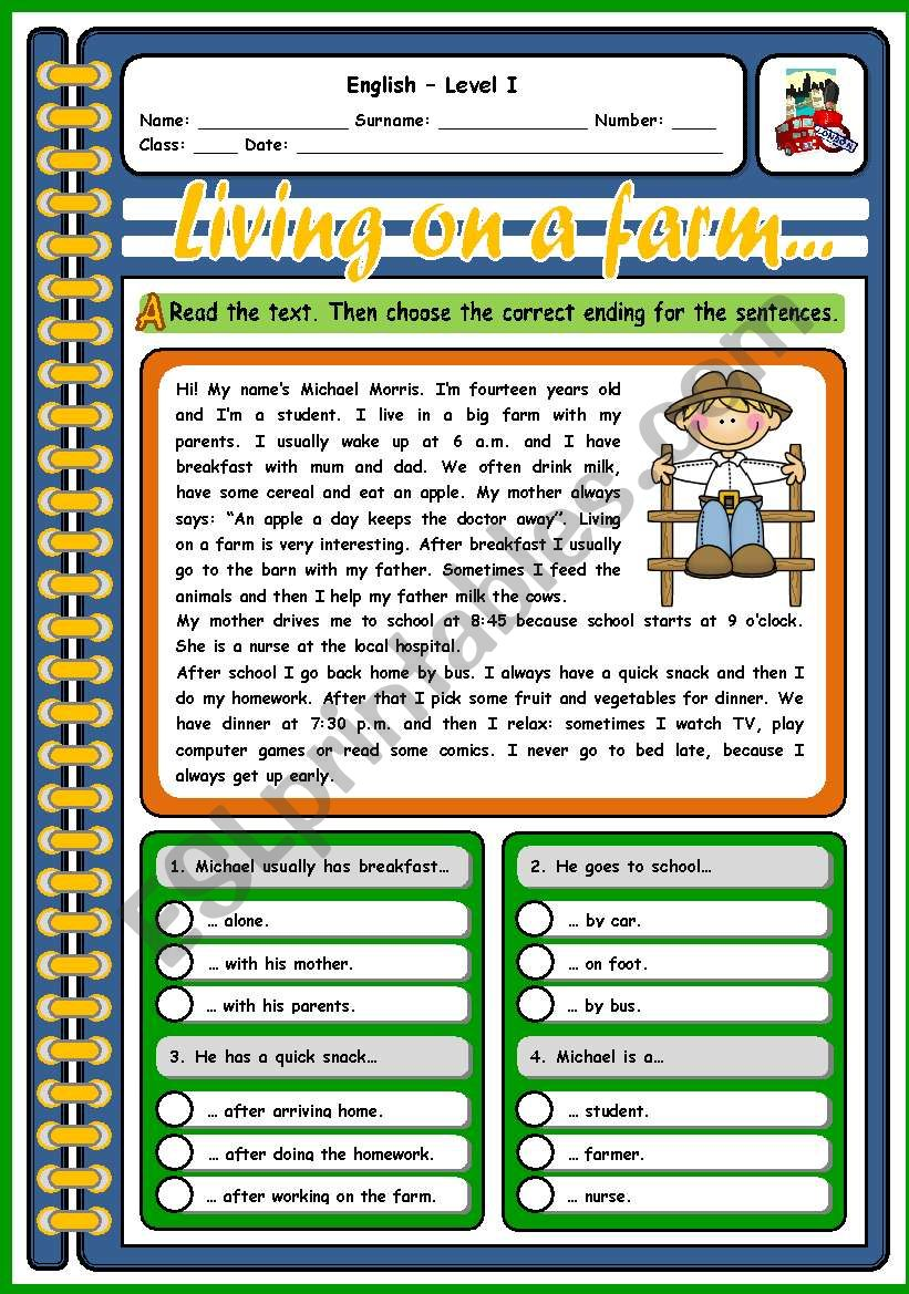 LIVING ON A FARM (2 PAGES) worksheet