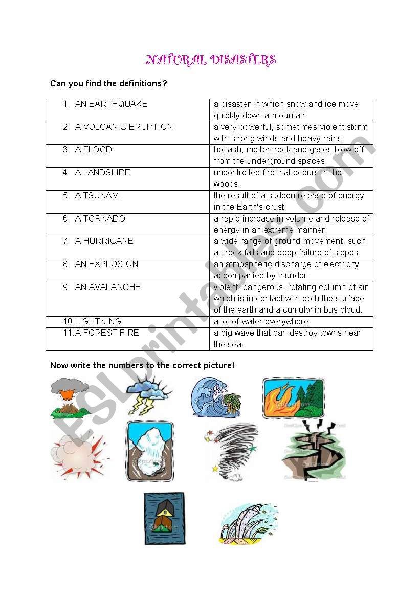 Natural disasters - ESL worksheet by Maja Skakic