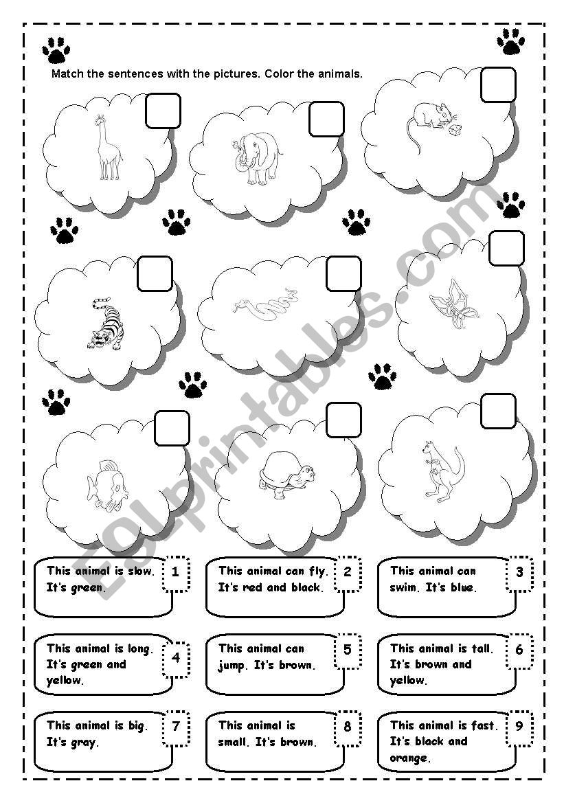 MATCHING ANIMALS worksheet
