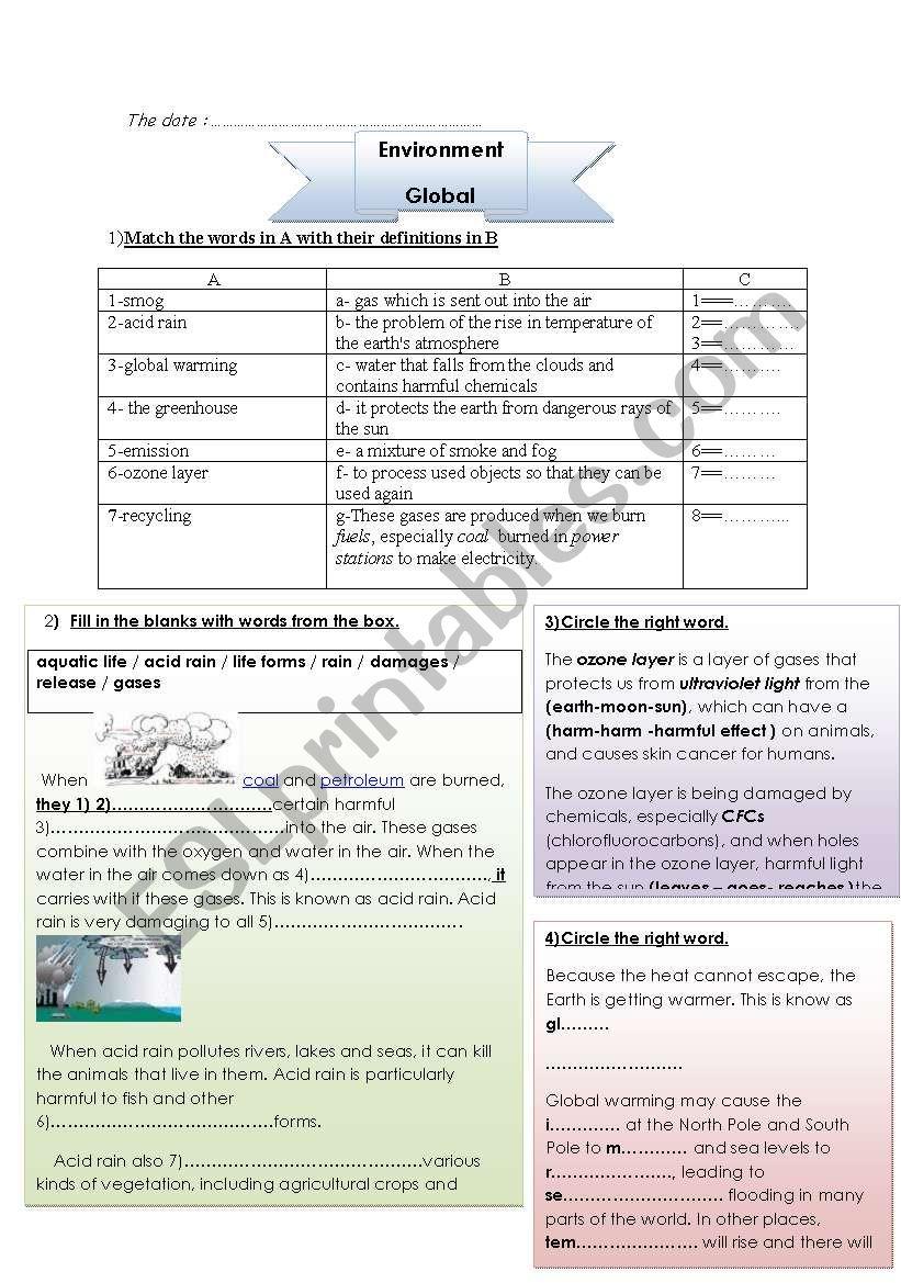 Global Warming Esl Worksheet By Mrs Ben Taher