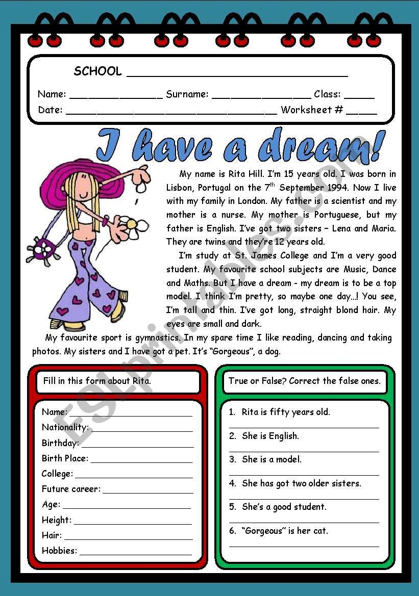 I HAVE A DREAM! ( 2 PAGES ) worksheet