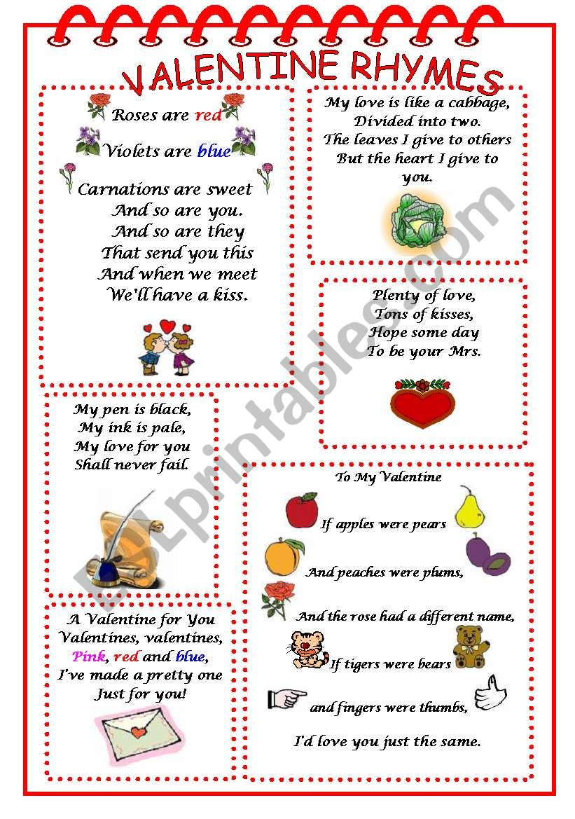 valentine rhymes esl worksheet by martinasvabova. Black Bedroom Furniture Sets. Home Design Ideas