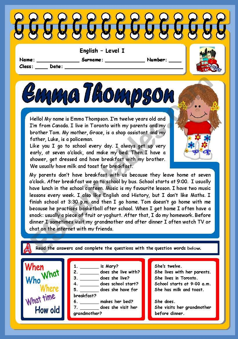 EMMA THOMPSON (3 PAGES) worksheet