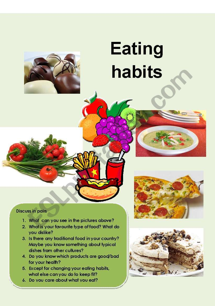 Eating habits worksheet