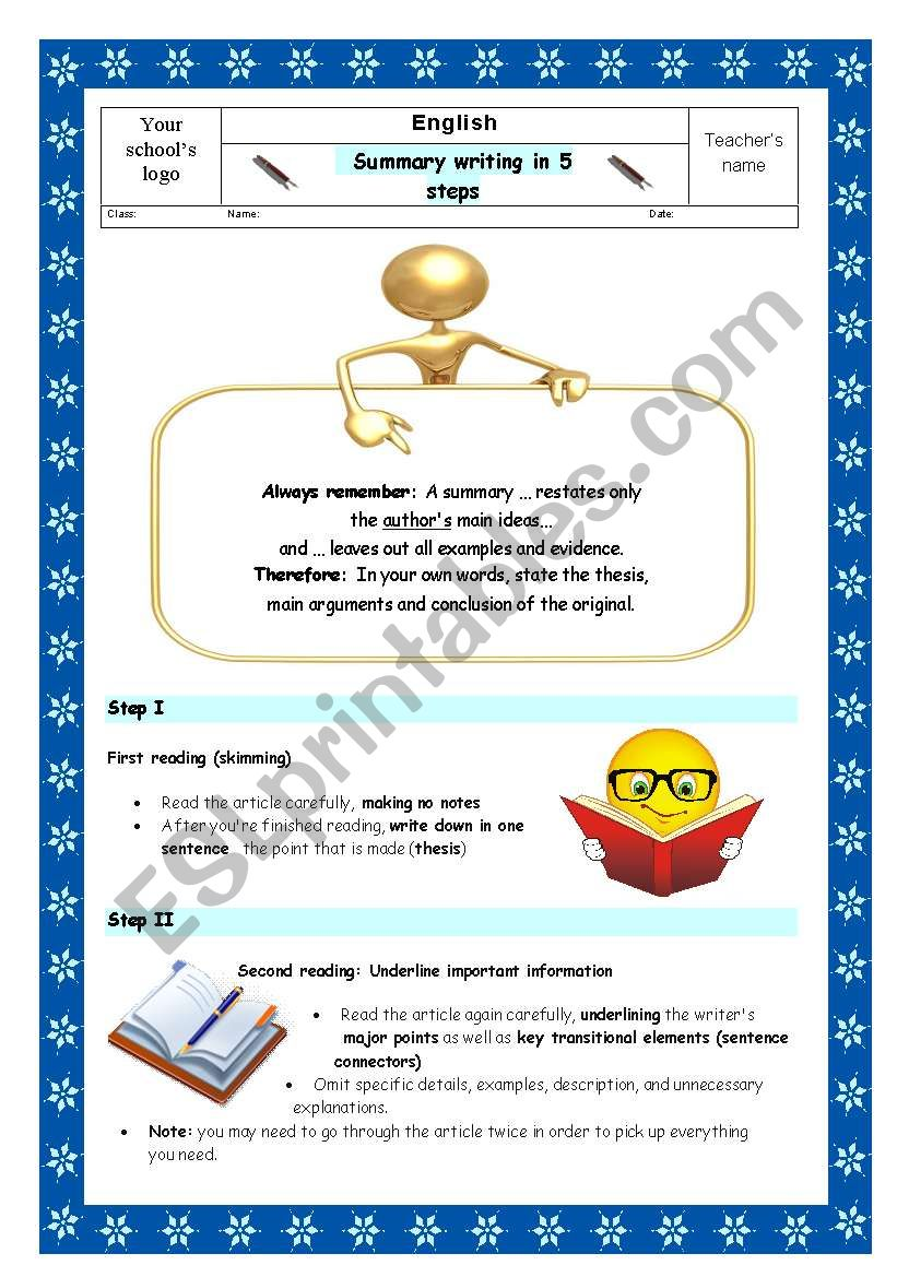 A guide to summary writing in 5 steps esl worksheet by tempest1989 a guide to summary writing in 5 steps thecheapjerseys Images