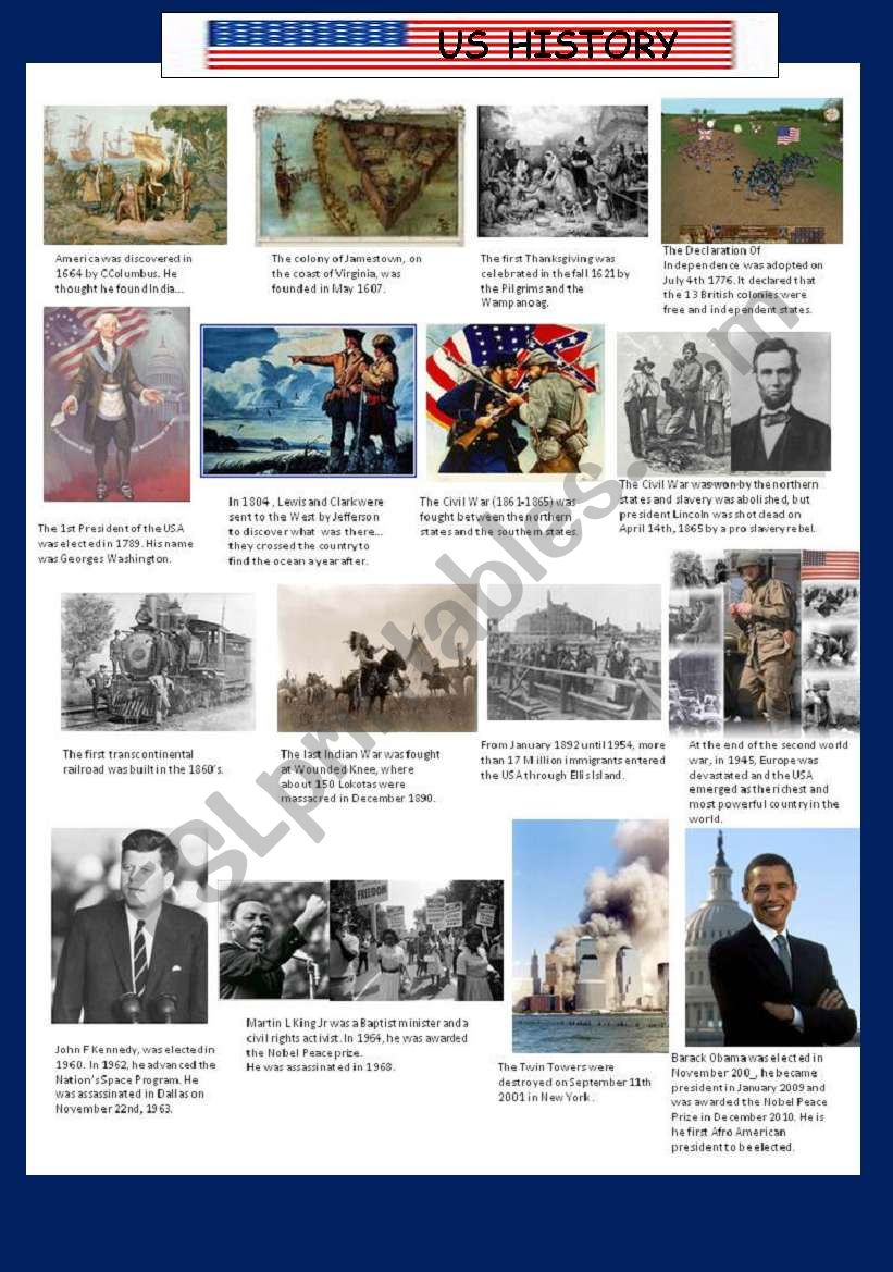 US History, Key Moments worksheet