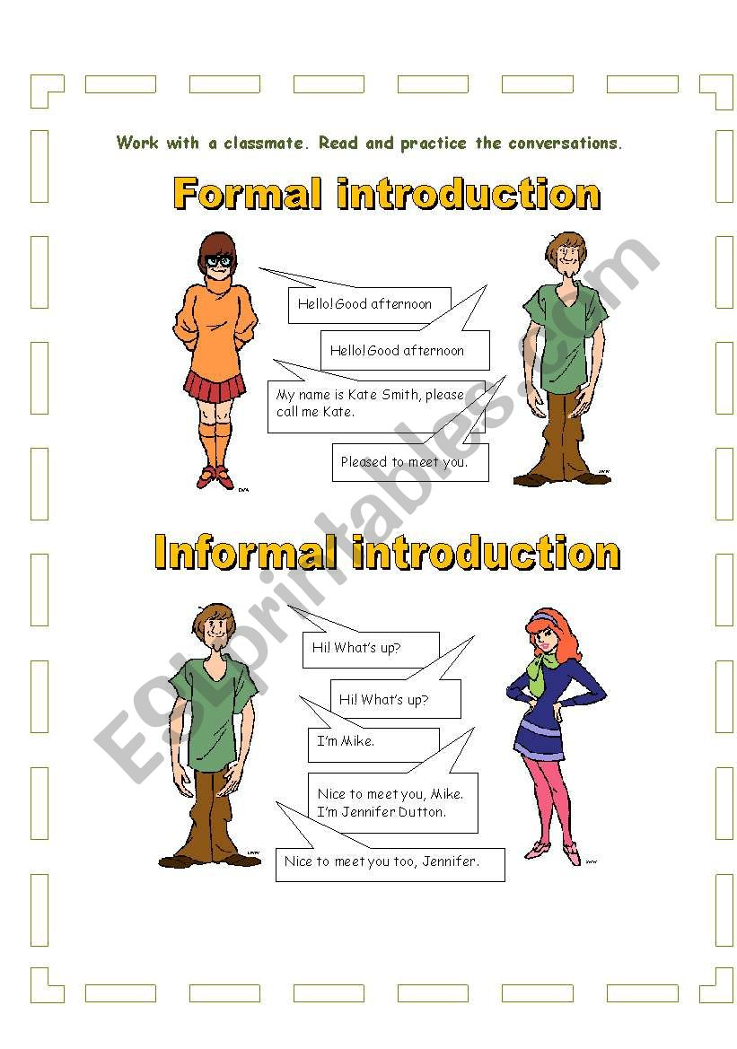 Formal And Informal Introductions And Greetings Esl Worksheet By