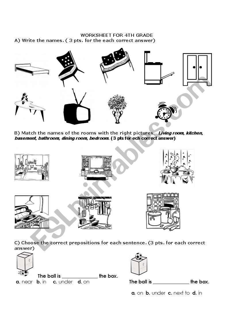 prepositions & home worksheet