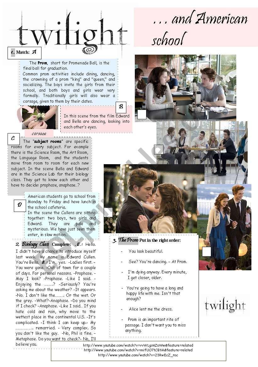 Twilight and American School worksheet