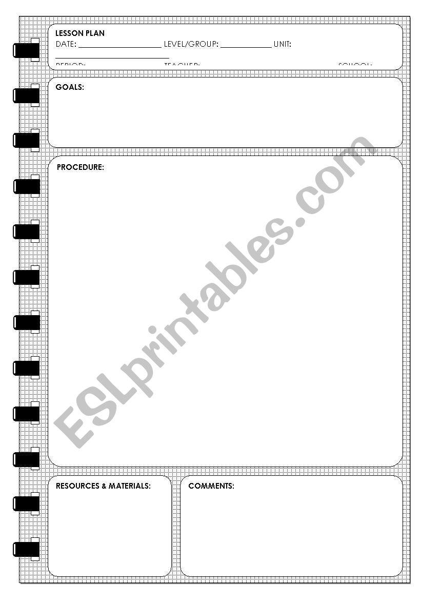 LESSON PLAN TEMPLATE worksheet