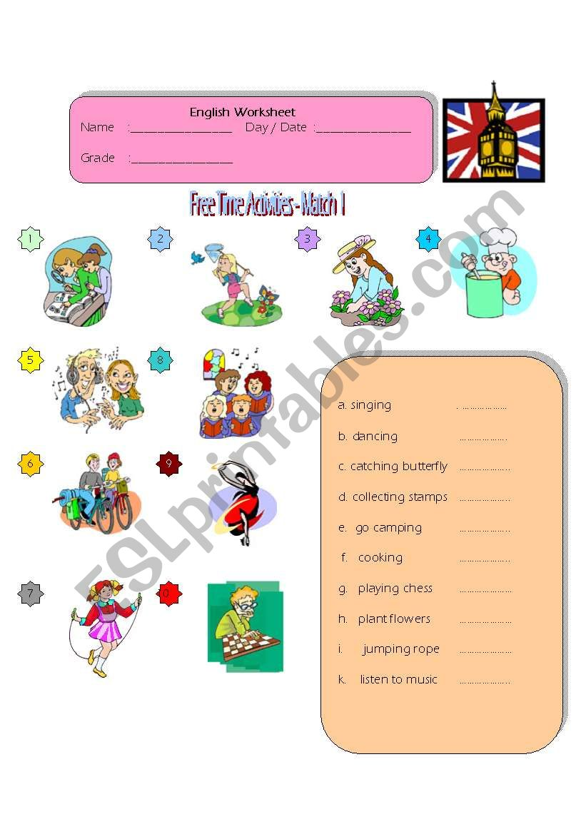 - Free Time Activities - Match 1 - ESL Worksheet By Zhlebor