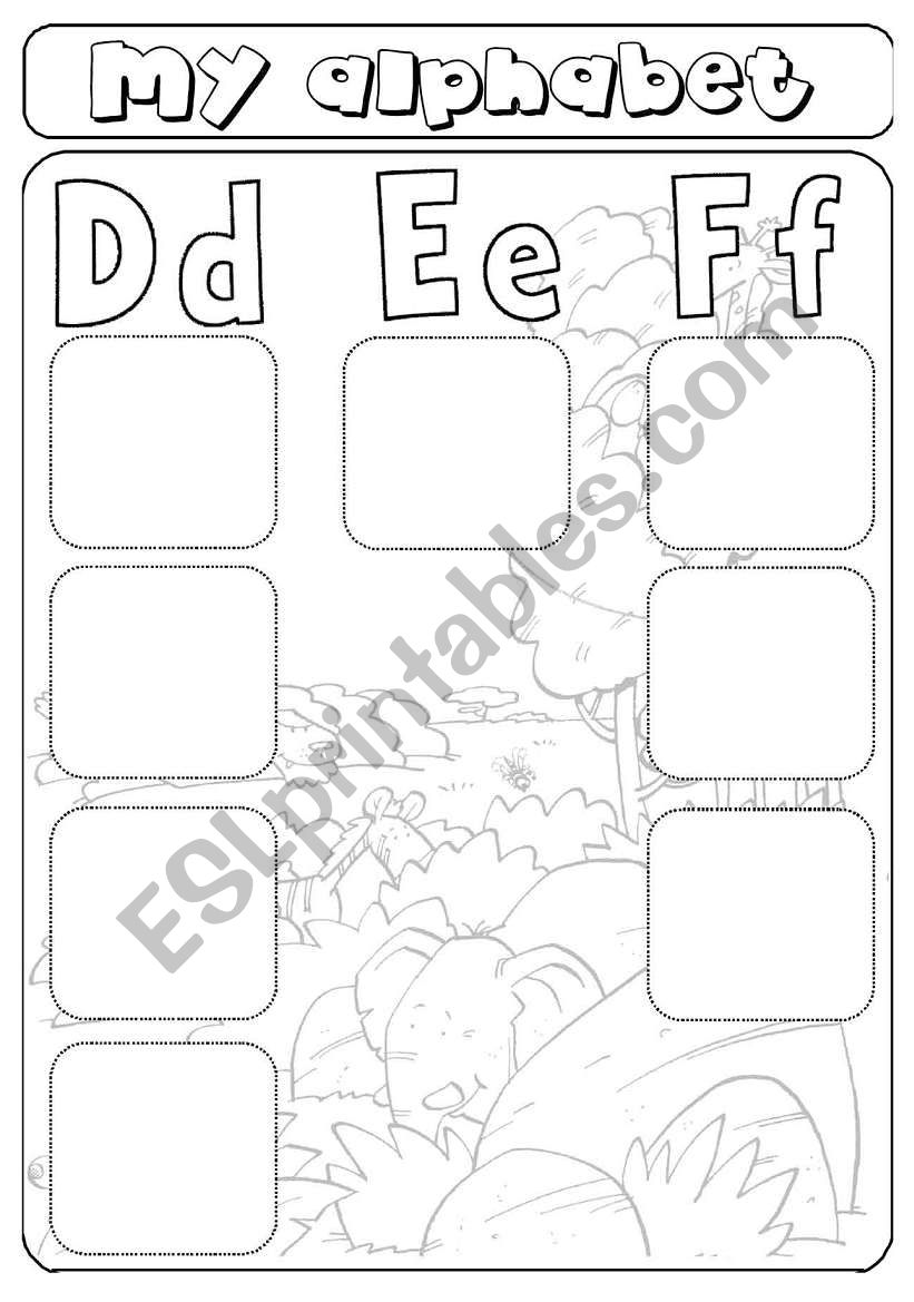 My alphabet - letters d,e,f - cut and paste - animals ...