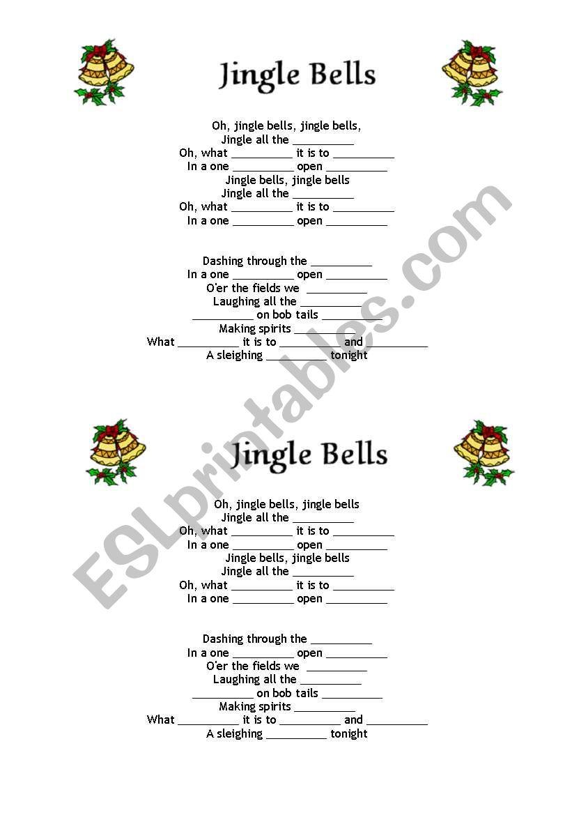 Jingle Bells fill in the gaps worksheet