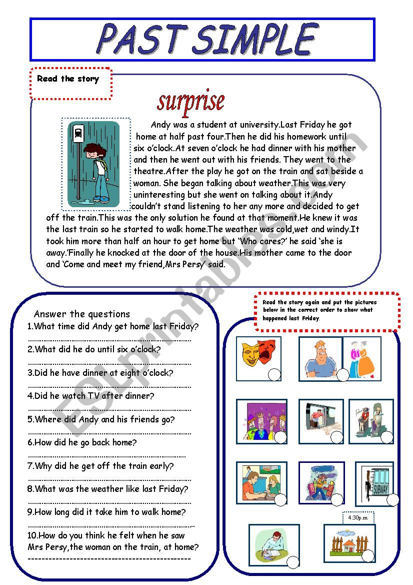 past simple(reading comprehension-it´s  fun)