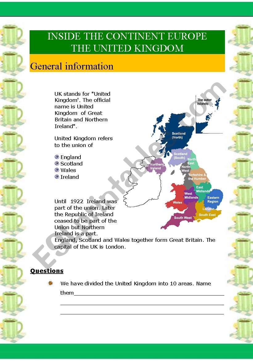 Inside the continent Europe - The UK (6 pages)