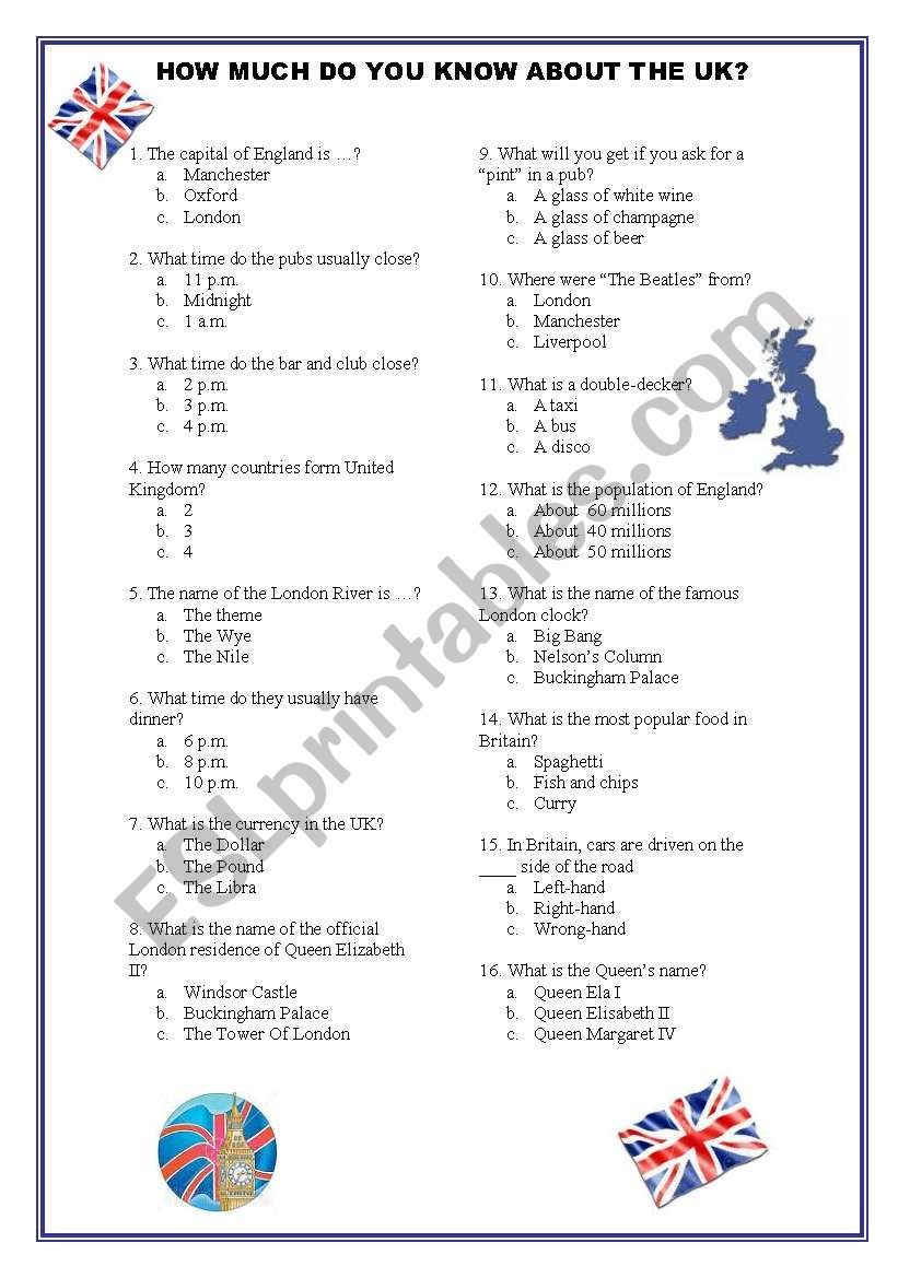 How do you know about UK? worksheet