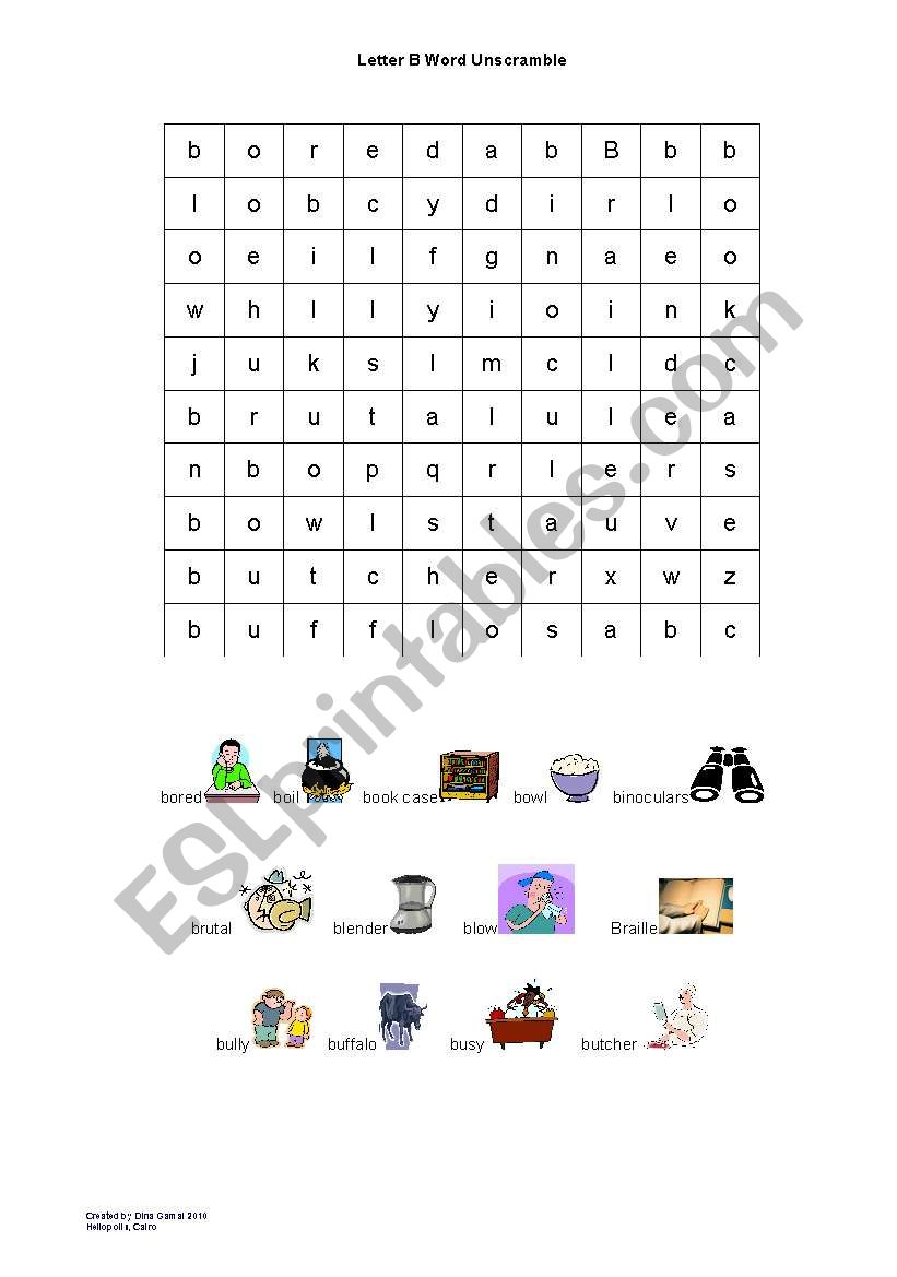 letter B wordsearch worksheet