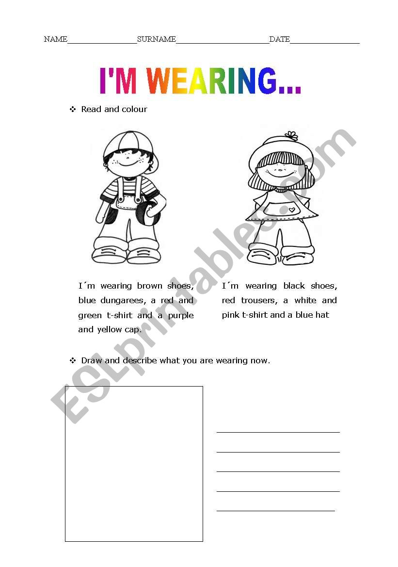 357115_1-I_m_ing_ Clothes Worksheet Pinterest on printable esl, kindergarten esl, preschool matching, preschool winter, summer winter,