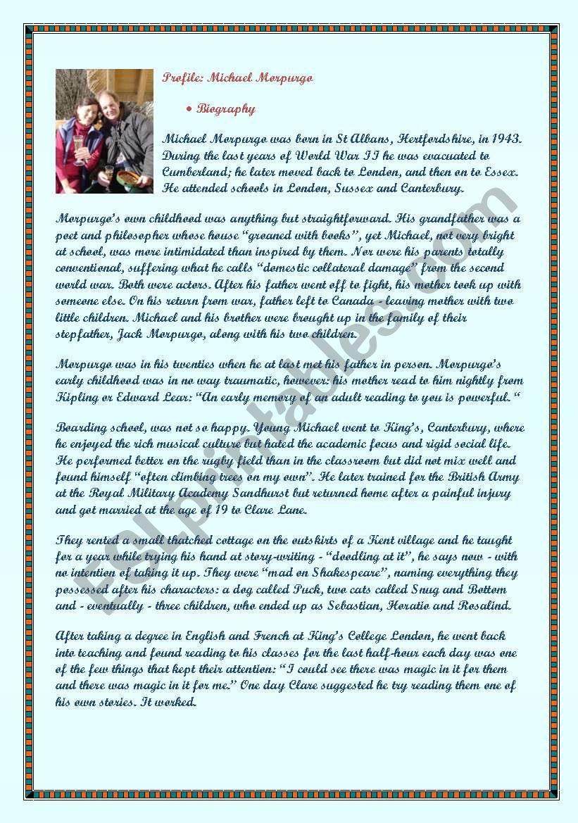 - Michael Morpurgo´s Biography + 2 Comprehension Exercises