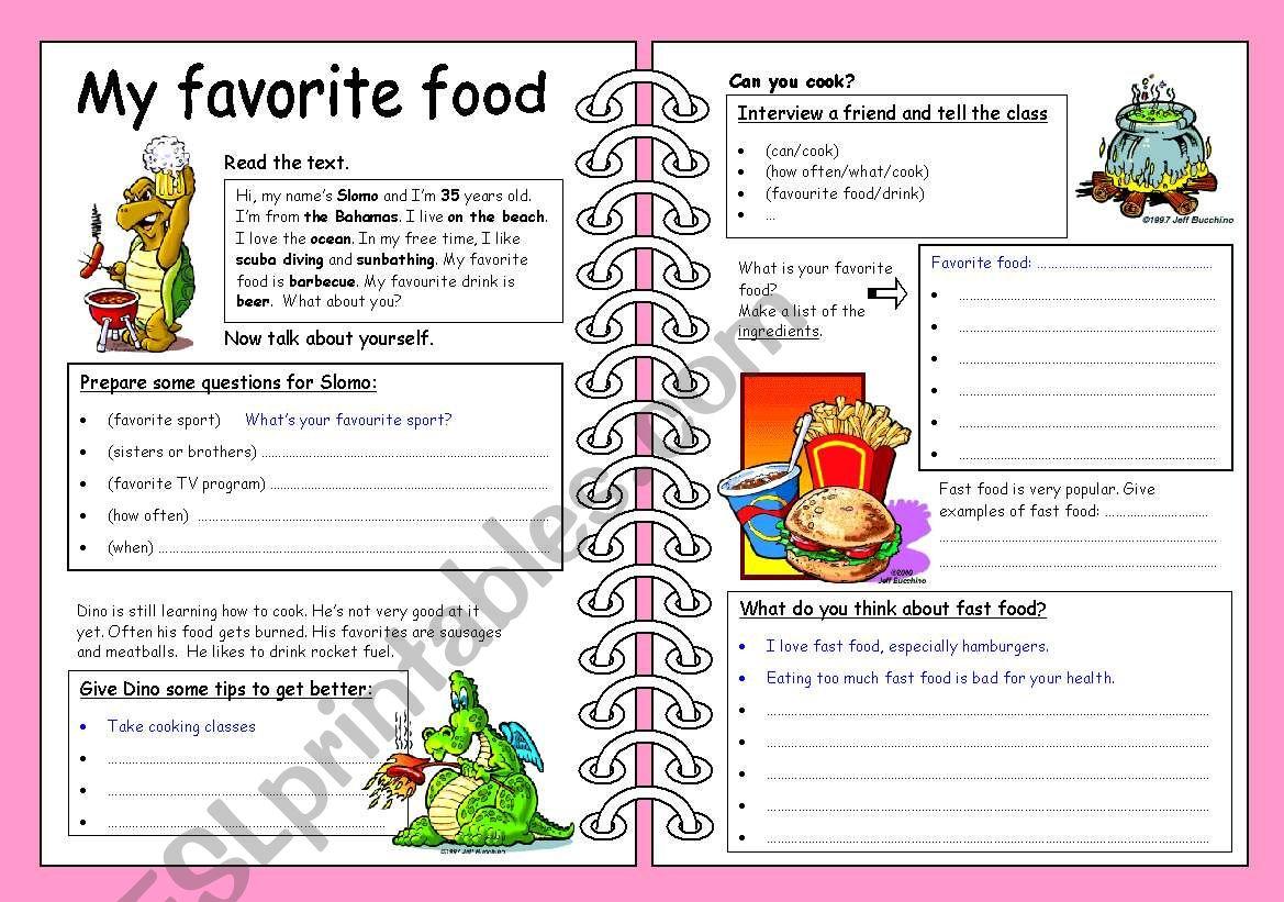 My Favorite Food Esl Worksheet By Toubab