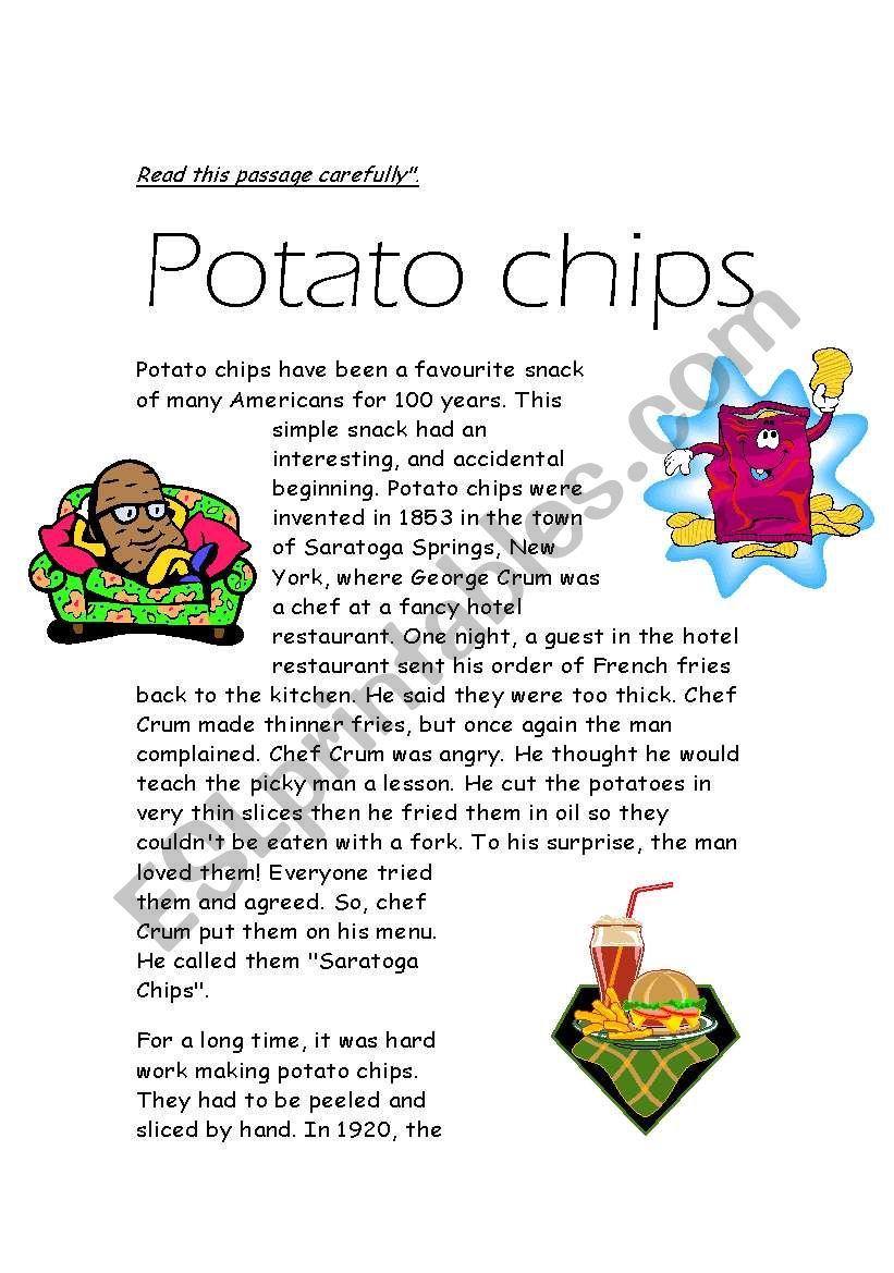 potato chipos reading worksheet