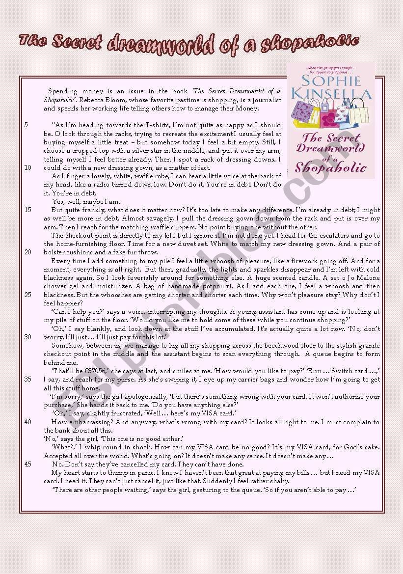 CONFESSIONS OF A SHOPAHOLIC worksheet
