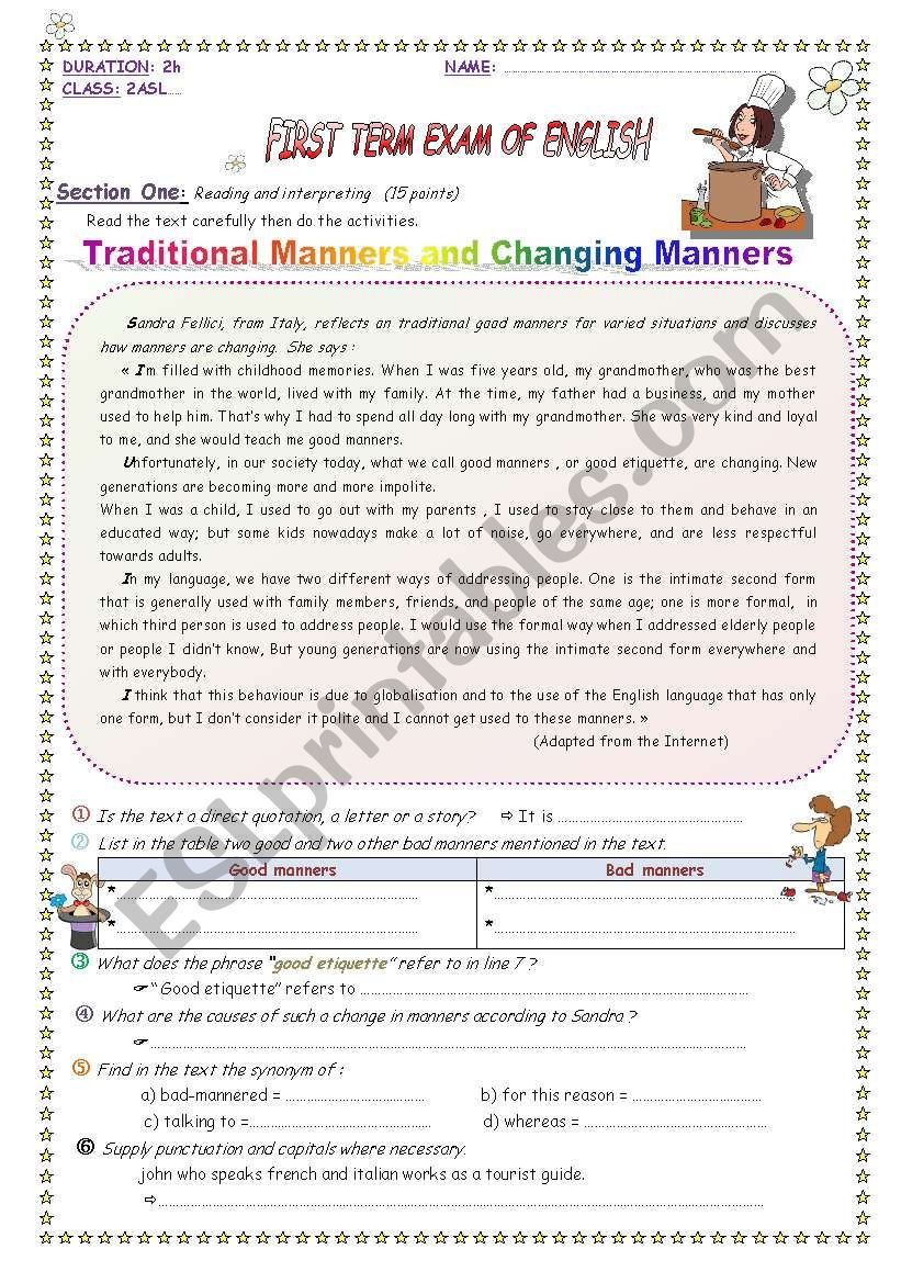 Traditional manners and changing manners