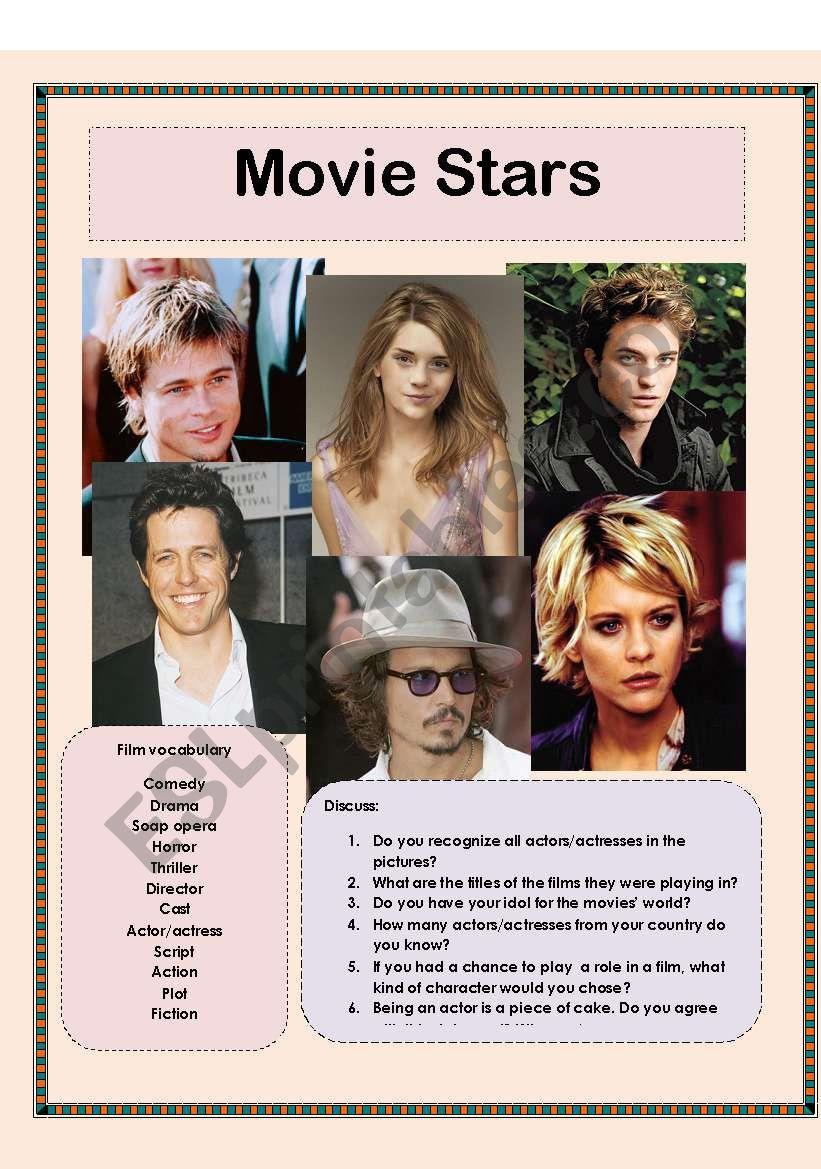 Movie stars - discussion worksheet