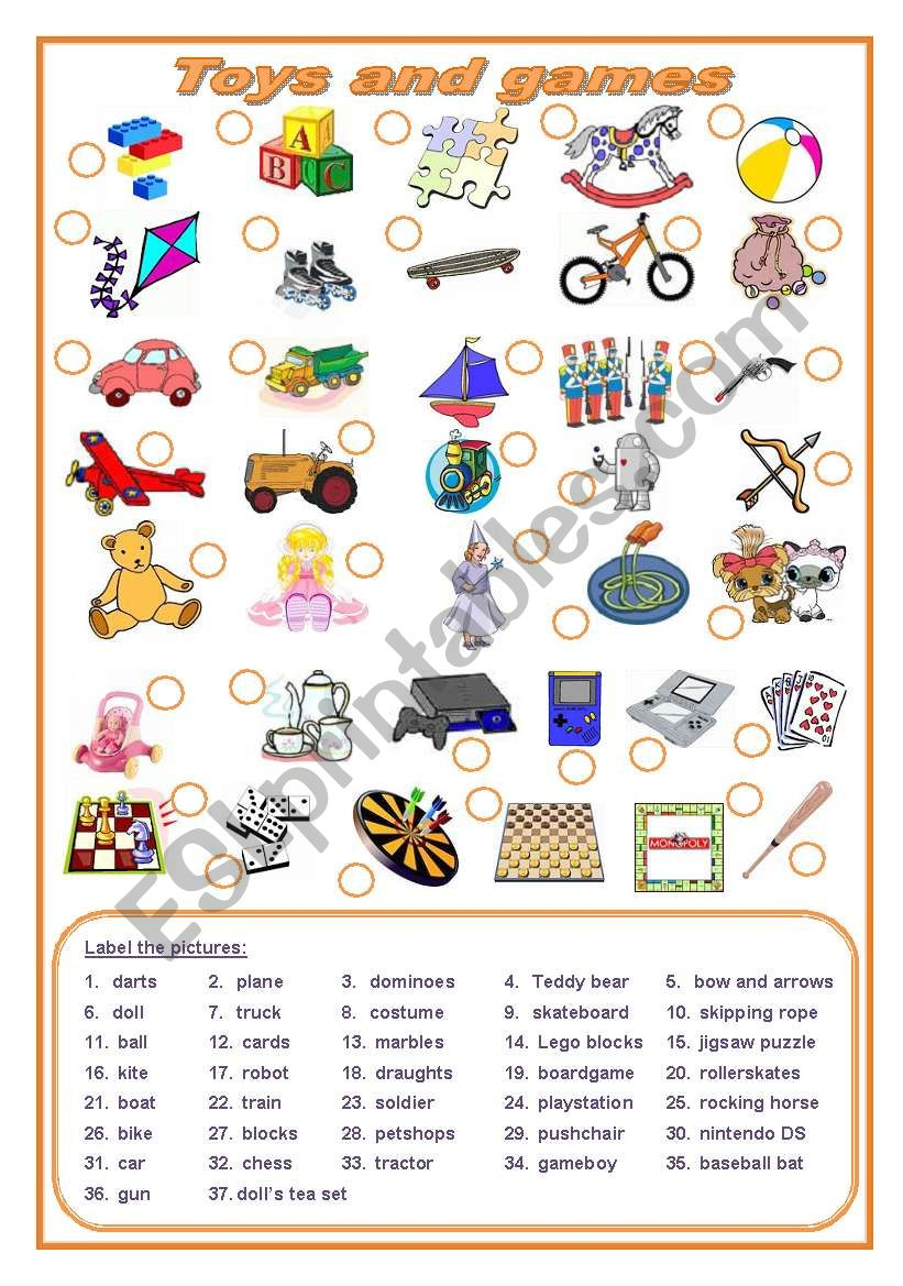 Toys and games (editable) worksheet