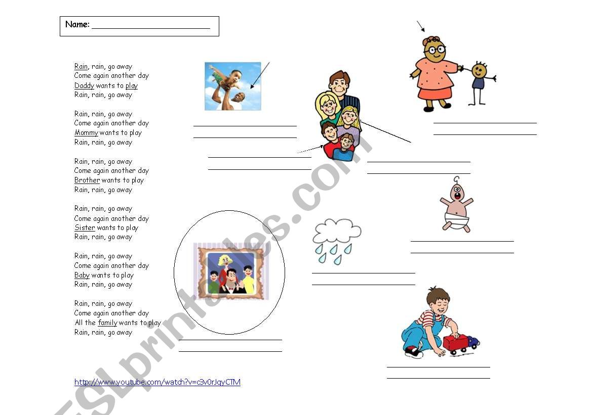 Rain Rain Go Away Coloring Page: ESL Worksheet By Manonski (f