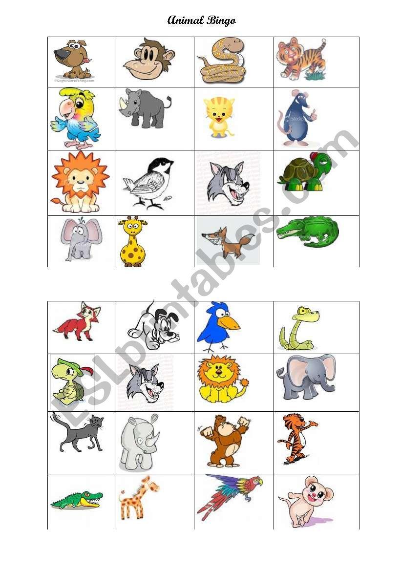 Animal Bingo worksheet