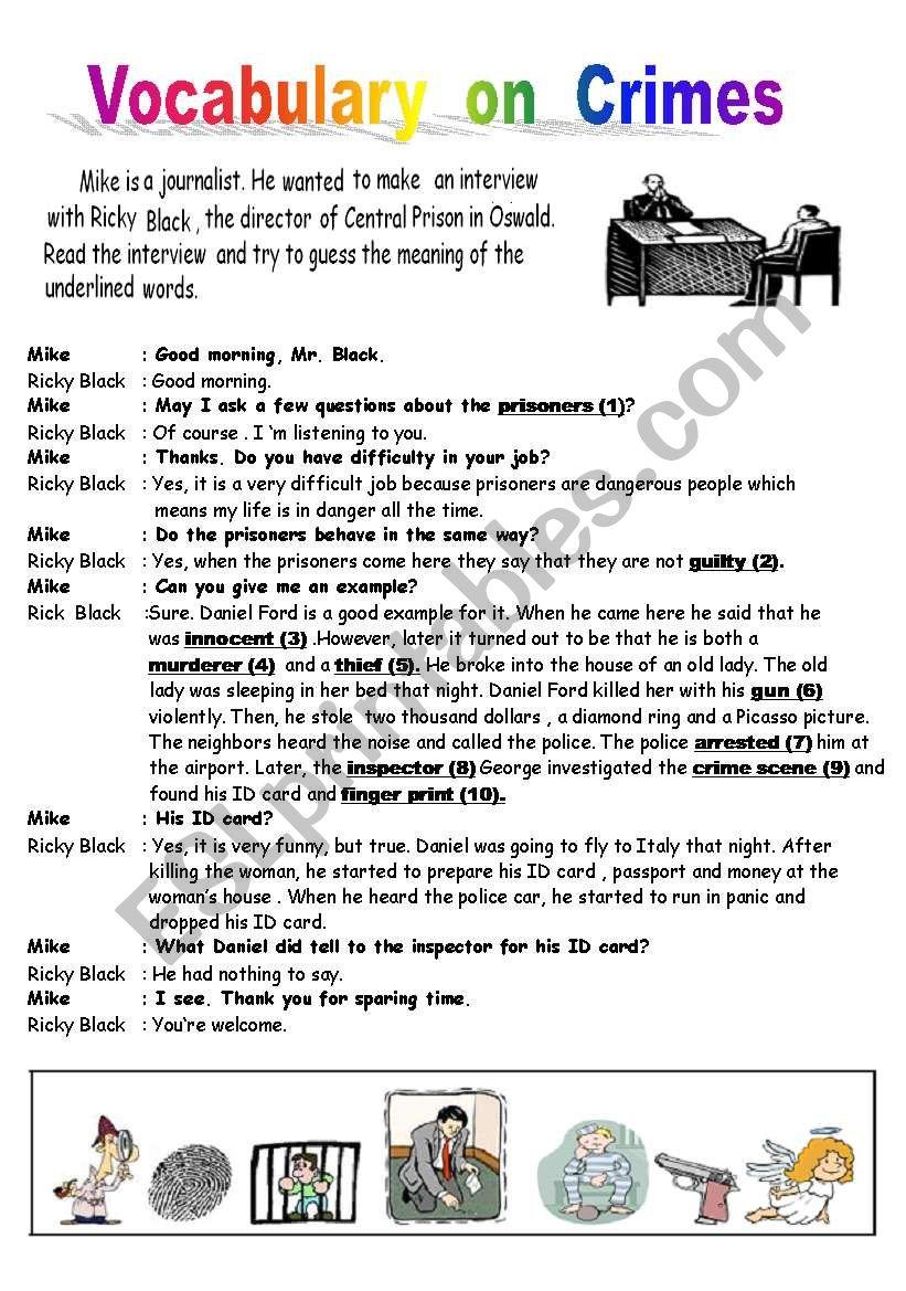 Crime Vocabulary & Reading worksheet