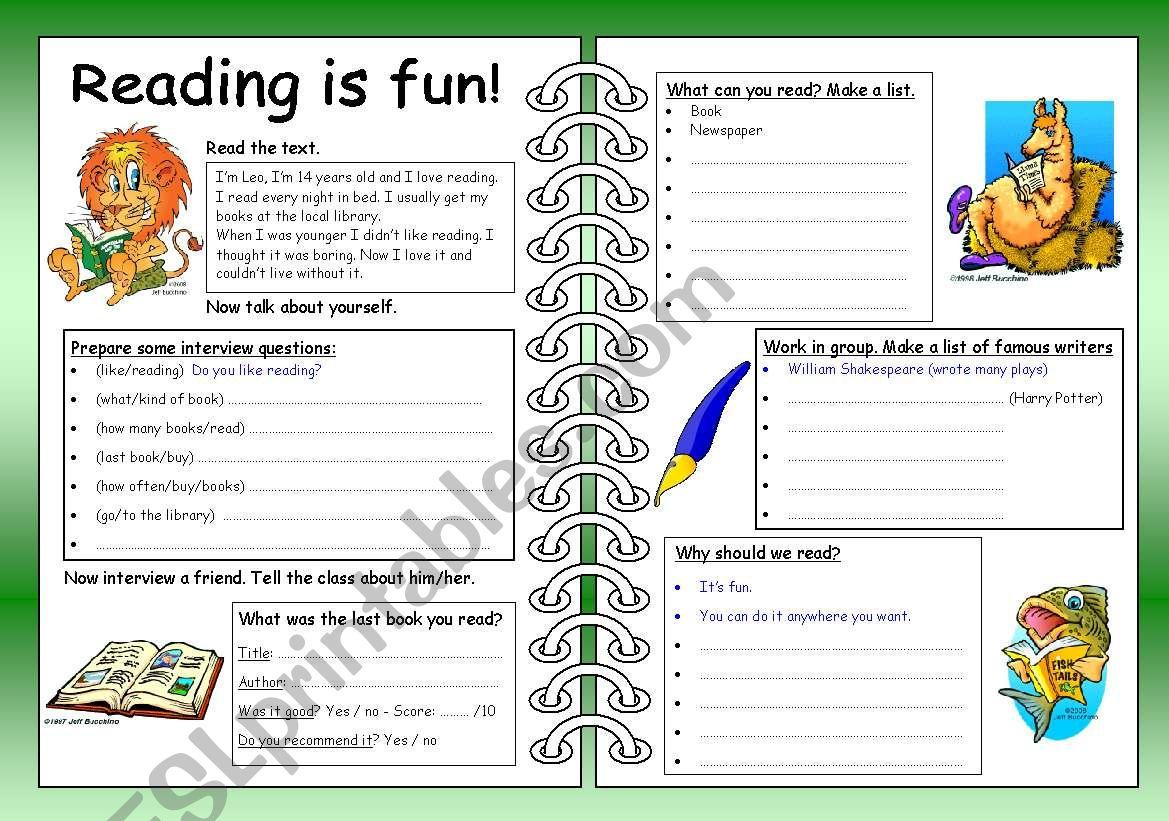 Four Skills Worksheet - Reading is Fun