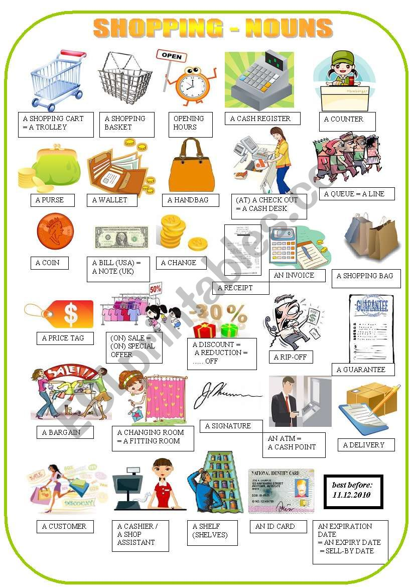 SHOPPING - nouns - pictionary worksheet