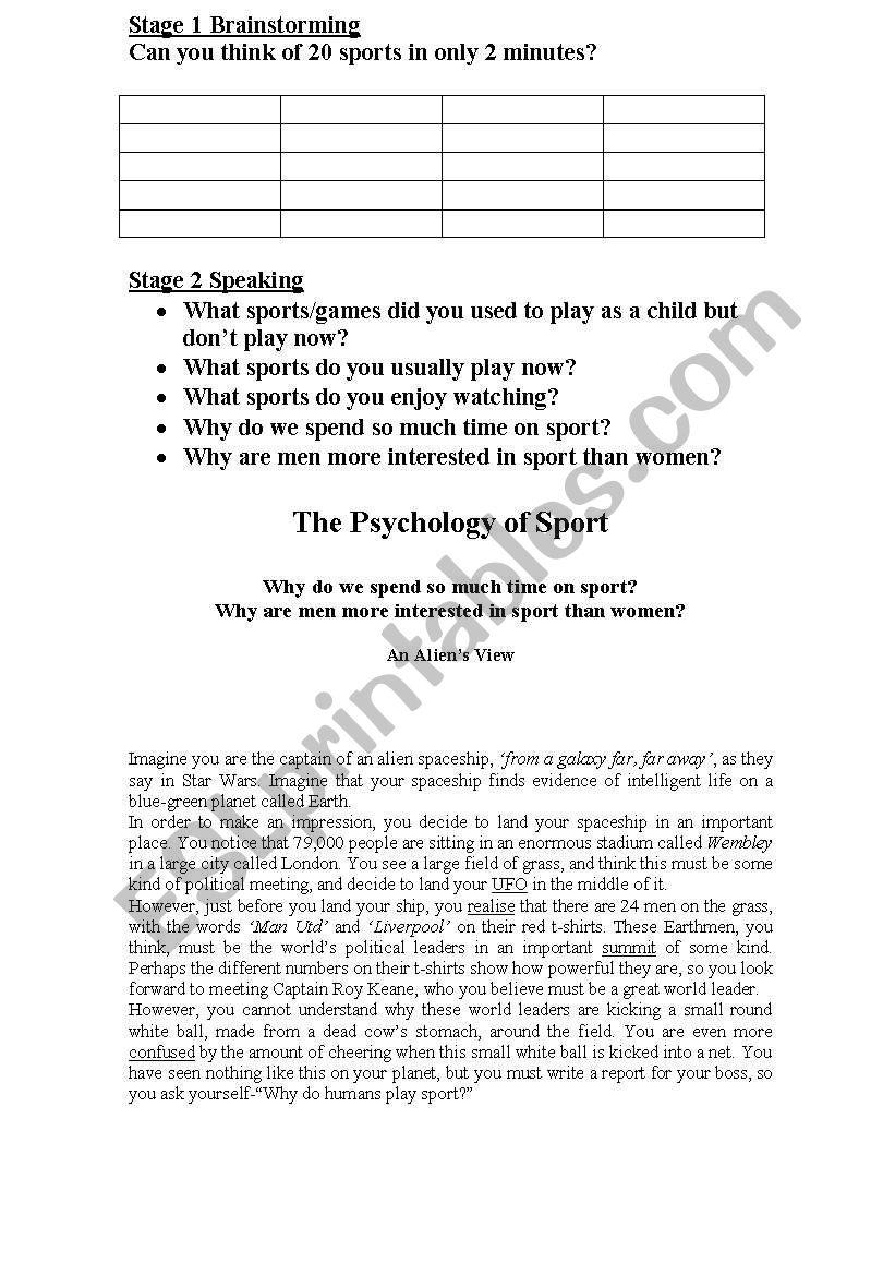 Sport Brainstorm worksheet
