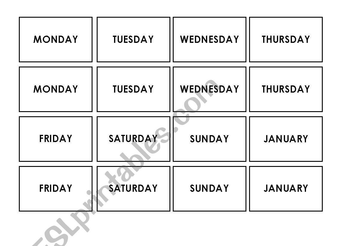 MEMO GAME months days seasons worksheet
