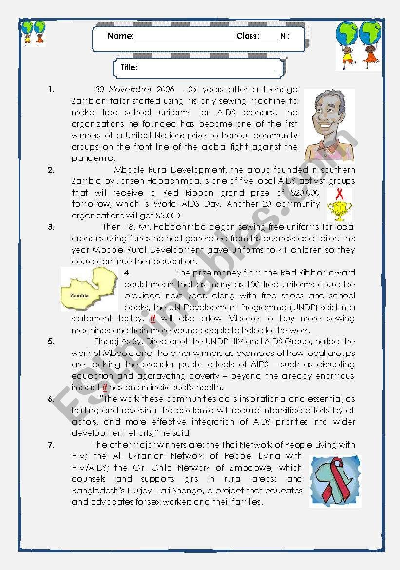 A Zambian Philanthropist worksheet