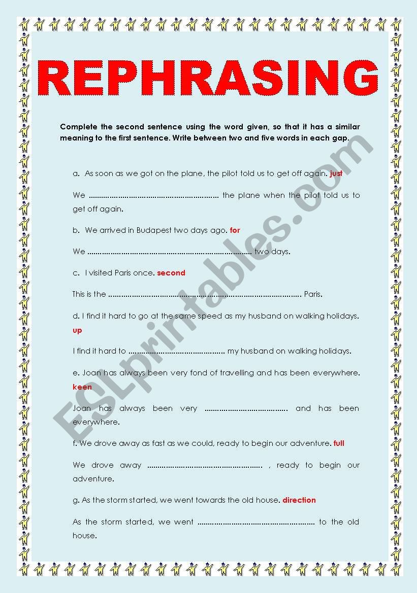 REPHRASING AND WORD FORMATION worksheet