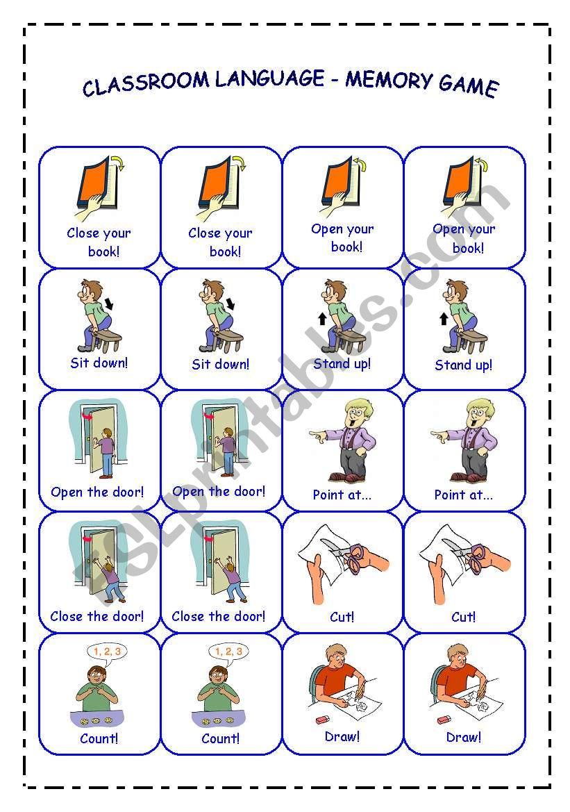 CLASSROOM LANGUAGE - MEMORY GAME - PART 1