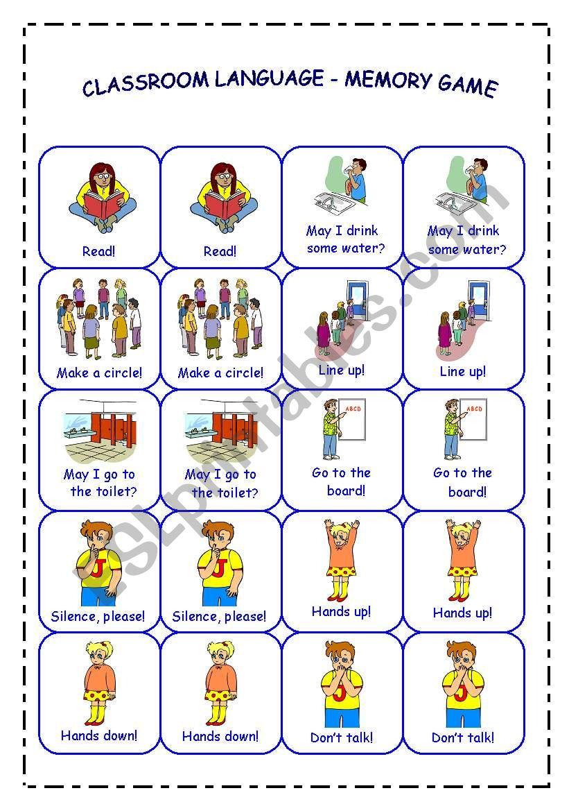 CLASSROOM LANGUAGE - MEMORY GAME - PART 2