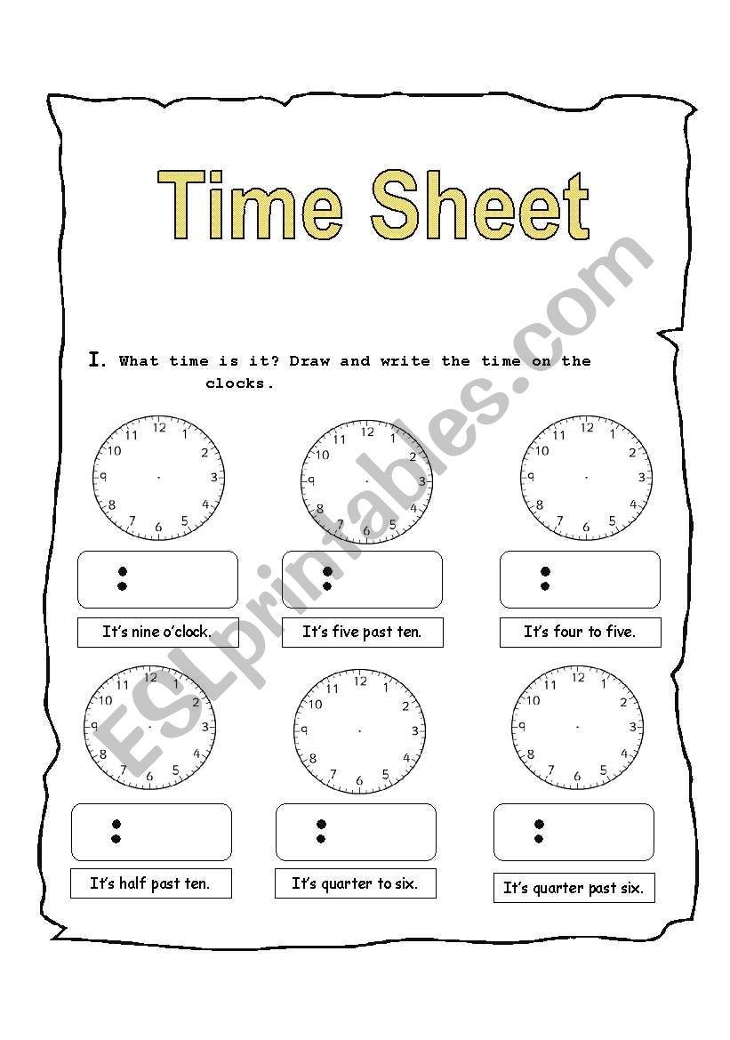 Time sheet worksheet