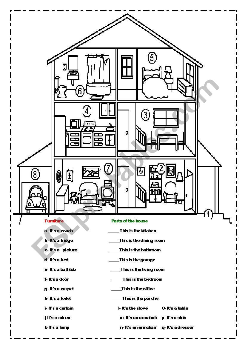 House Rooms Worksheet: Match The Furniture And Rooms In The House
