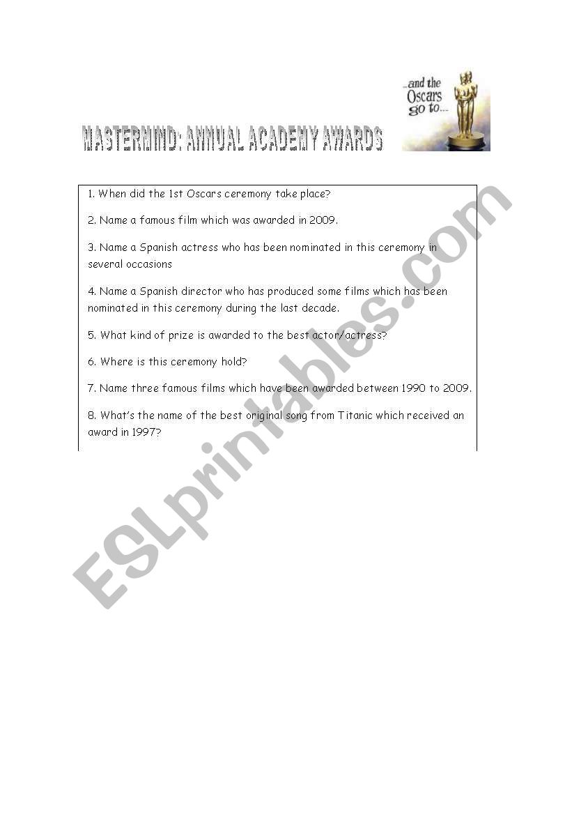 Oscars ceremony worksheet