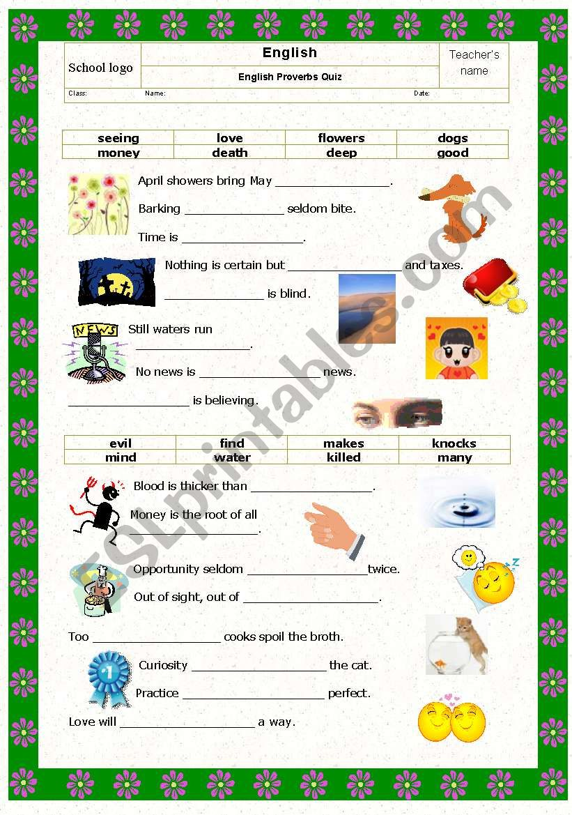 Game: Proverbs quiz with pictures Part I (key included)