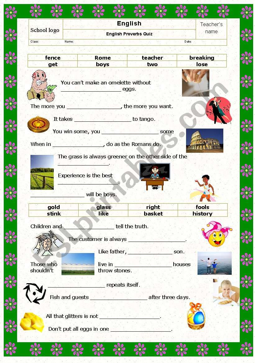 Game: Proverbs quiz with pictures Part II (key included)